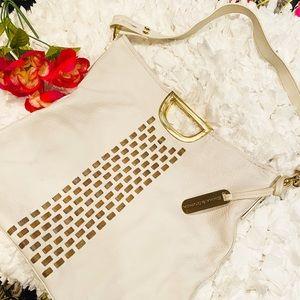Emma & Sophia Ecru Leather Purse w/ Gold Braiding